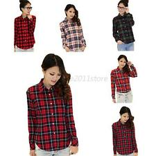 Women's Casual Blouse Button Down Lapel Shirt Plaids & Checks Flannel Tops M-XL