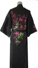 Chinese Silk embroidery Women's Kimono Robe Gown sleepwear Black Sz: M L XL XXL