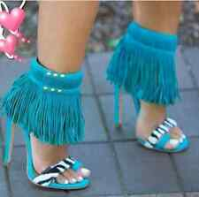 Hot & New!! Fringe Tassel Leather Sandals Pumps High Heel Women Shoes