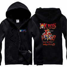 One Piece Cosplay Costume Anime Thin Style Jacket Monkey D Luffy Black Hoody