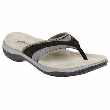 New Women's Athletech Aven Black Thong Sandals