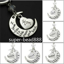 NEW I love you to the moon and back key chain Key Ring Set Gift 10 Style HOT
