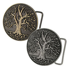 Buckle Rage Circular Men's Tree Of Life Roots Branches Nature Design Belt Buckle