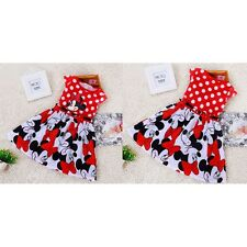 Cotton Dot Mickey Minnie Mouse Party Dress Skirt For 1 ~ 5 Years Old Girls Kids
