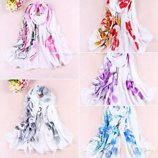 Women Gorgeous Ink Painting Chiffon Flower Printed Wrap Shawl Stole Long Scarf