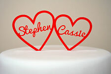 Two Hearts With Names Wedding Cake Topper Modern Simple Classy Personalised