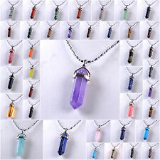 Gemstone Hexagonal Pointed Reiki Chakra Pendant 18K silver plated Necklace 17""