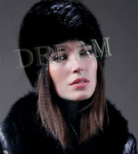 Denmark Genuine Real Mink Fur Pelt Knit Women Hat Black/Dark-Brown