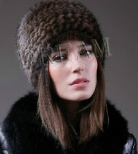 Denmark Real Genuine Mink Fur Pelt Knit Women Hat Black/D-Brown