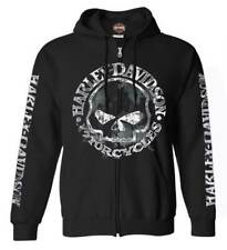 Harley-Davidson Men's Zippered Sweatshirt Jacket, Willie G Skull, Black 30296647
