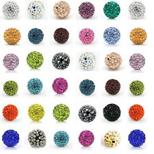 New 20Pcs Czech Crystal Rhinestones Pave Clay Round Disco Ball Spacer Beads