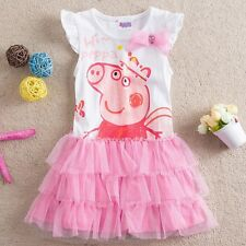 BALLET LOVELY PIG Girls Baby Striped Top Dress Pink Ruffle Tutu Skirt T-Shirt
