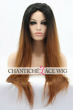 Discount Synthetic Hair Lace Front Wig Straight Long Ombre Brown Heat Resistant