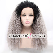 Gray Ombre Synthetic Lace Front Wig Kinky Curly For Black Women Heat Resistant