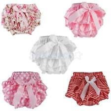Newborn Baby Girl's Toddler Bow Ruffle FRILLY Pants Bloomers Nappy Cover 0-2Year
