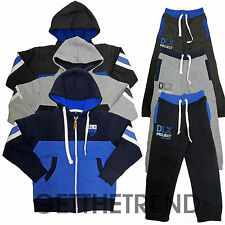 Boys DLX Fleece Lined Tracksuit Kids Hooded Top and Bottoms Outfit Set 7-13 year