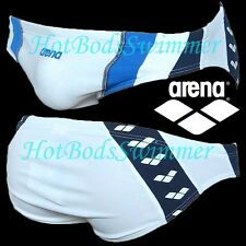 Arena AST13121WT Men's Competition Swimwear/Swim Brief (White with Blue/Navy)