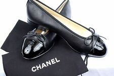 NEW! AUTHENTIC CHANEL SHOES LAMBSKIN FLATS Black
