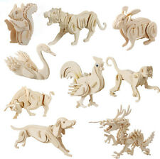 DIY Educational Puzzle 3D Jigsaw Animal Wooden Model Toy Gift Kids For Fun Game