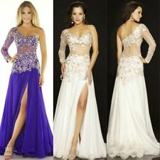 2015 Sexy Long Lace Evening Bridesmaid Dress Prom Ball Cocktail Gown One-Sleeve