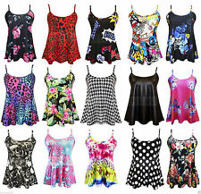 New Womens Ladies Sleeveless Swing Cami Strappy Floral Aztec Vest Top Size 8-24