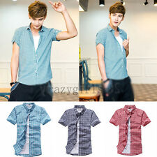 Hot Mens Short Sleeve Button Plaids Luxury Casual Fit Stylish Dress Shirts