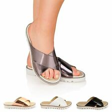 WOMENS DOLCIS CROSS OVER STRAP LADIES SLIDERS MULES SANDALS SHOES FLIP FLOPS