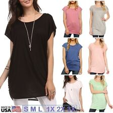 USA Womens Long Basic Tunic Top Cap Sleeve Boatneck Batwing Shirt Side Shirring