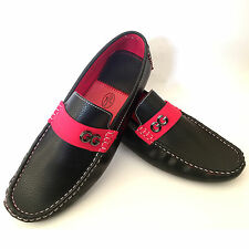 Mens Black Loafers Moccasin Driving Casual Party Slip on Shoes Boys UK Size 5-11