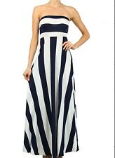 Navy and White Striped Print Maxi Dress Nautical Strapless Summer Vacation Dress