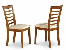 SET OF 4 KITCHEN DINING CHAIRS WITH PADDED SEAT IN SADDLE BROWN