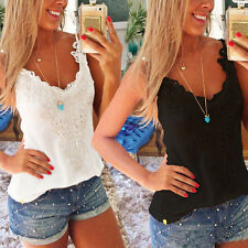 S-5XL Womens Summer Sleeveless Crochet Lace Shirt Tank Vest Top Blouse Plus Size