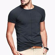 Mens Simple Casual T-Shirt Short Sleeve Round Neck Solid Purity 6 Colors XL 2XL