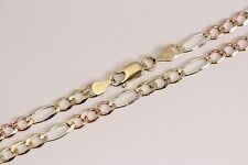 """10K AUTHENTIC SOLID TRICOLOR GOLD 4.5MM FIGARO LINK CHAIN SIZE 16""""-30"""" FREE SHIP"""