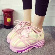 Womens Lace Up Platform Heel Casual Running Sports New Fashion Sneakers Shoes YE
