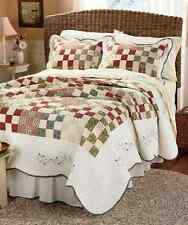 Patchwork Quilt Bedspread Floral Country Embroidered Full/Queen King or Shams