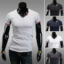 Men's Slim Fit Stylish Short Sleeve V Neck Casual Basic Tee T-shirt Tops M-XXL