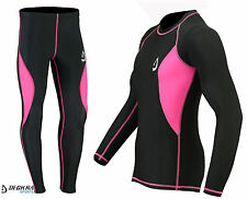 Deckra Womens Compression Tight Base Layer Running Trouser Shirt Full Sleeves