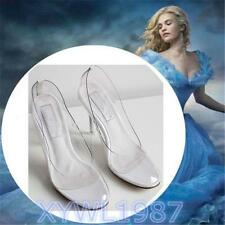 2015 Hot Movie Princess Cinderella Clear Glass Slippers Summer high-heeled shoes