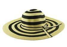 Cool Paper Straw Floppy Brim Sun Hat Navy Beige Stripe Bow Band