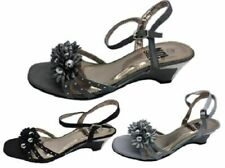 Ladies Shoe No Shoes Sublime Strappy Wedge Black, Silver or Pewter Size 6-11
