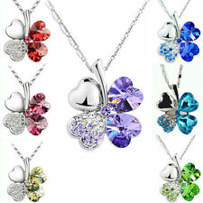 NEW Clover Rhinestone Peach Heart Four Leaf Pendant Chain Lucky Necklace Jewelry