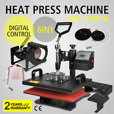 6in1 Heat Press Machine Digital Transfer Sublimation T-Shirt Mug Hat Plate Cap