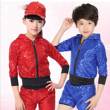 Kids Dance Costumes Sequins BOY girl Modern Dancewear TOP Jazz Hip Hop Top&Pants