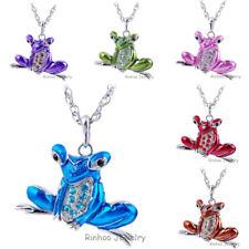 New Fashion Crystal Frog Pendent Necklace Sweater Chain Enamel Gold Plated