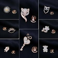 Rhinestone Gold Bridal Wedding Flower Owl Pearl Crystal Bouquet Brooch Pin Gift