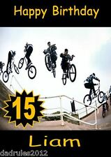 Personalised BMX Birthday Card SIZE LARGE A5 Bmx Bike/Scooter ANY NAME/AGE Bus