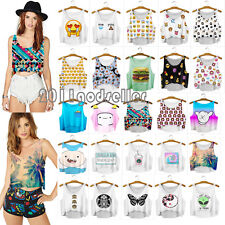 Summer Casual Womens Emoji Tank Top Vest Blouse Sleeveless Cartoon Crop T-Shirt