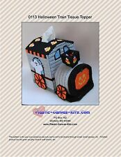 Halloween Train Tissue Topper-Ghosts and Pumpkins-Plastic Canvas Pattern or Kit