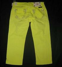 MISS ME 28 bright neon yellow embellished bling capri cropped denim jeans NEW